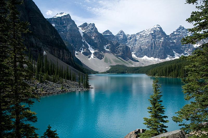 梦莲湖,在上面,自然,水,水平画幅,地形,阿尔伯塔省,无人,蓝色,夏天