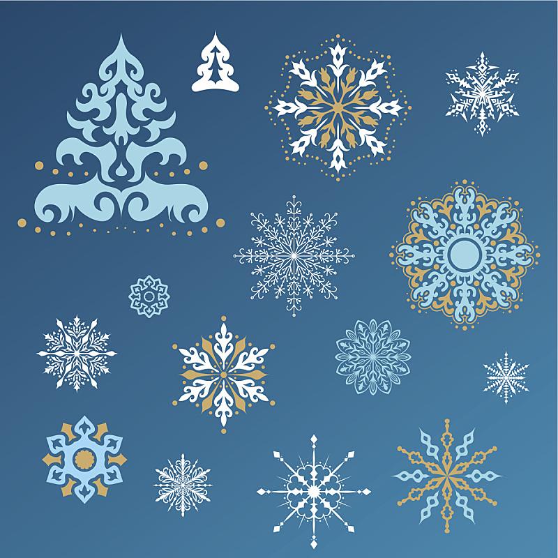 雪花,寒冷,形状,雪,无人,蓝色,绘画插图,圣诞树,冰