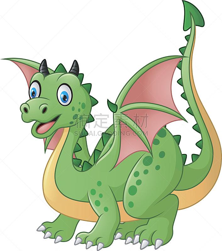 卡通,黄花菖蒲,幽默,龙,讲故事,神话,可爱的,背景分离,翅膀,动物