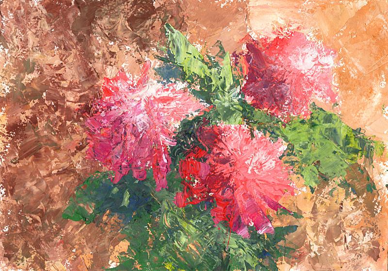 艺术品,花束,调色板,印象主义,艺术,水平画幅,绘画插图,图像,仅一朵花