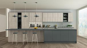 白色,灰色,极简构图,斯堪的纳维亚半岛,木制,厨房,大特写,家具,锅,明亮