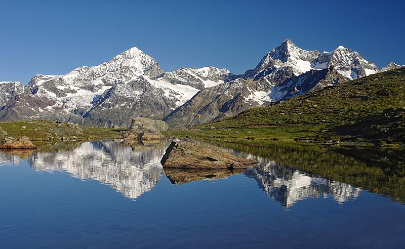 湖,山,阿尔卑斯山脉,策尔马特,马特洪峰,公园,水平画幅,雪,无人,夏天