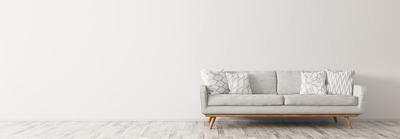沙发,极简构图,全景,白色,三维图形,室内,软垫,起居室,镶花地板,枕头