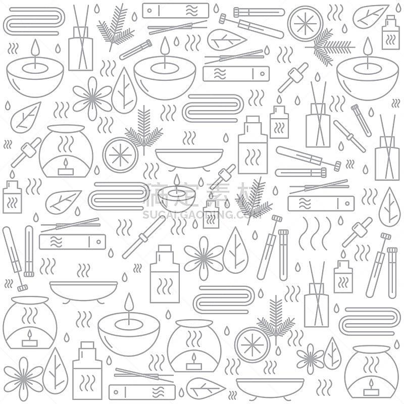 芳香疗法,石油,排队等,美,风,替代疗法,辅导讲座,浴室,印度草医学,绘画插图