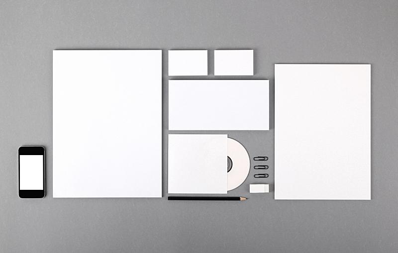 信封,身份,橡皮擦,空白的,铅笔,名片,光驱,金属夹,装订夹,留白