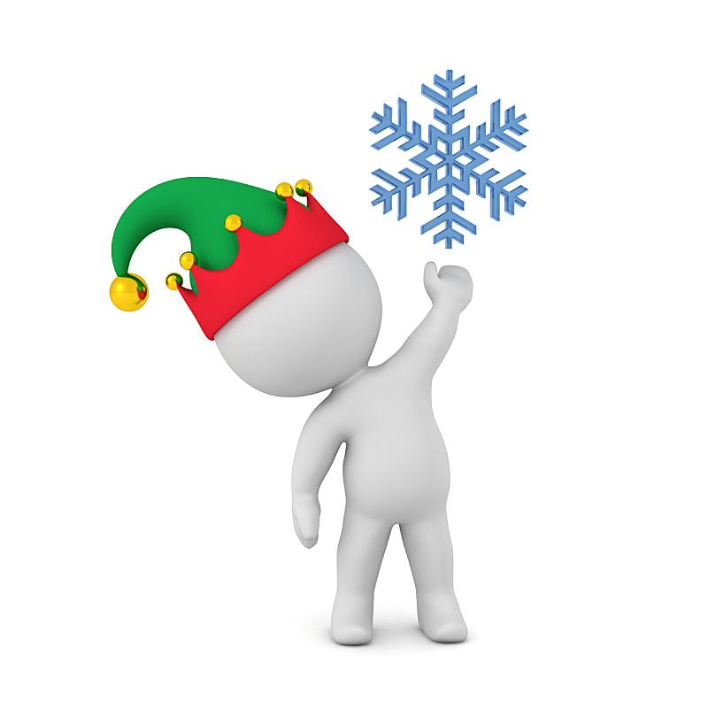 雪花,小精灵,三维图形,帽子,高处,性格,拿着,白色背景,背景分离,罗马尼亚