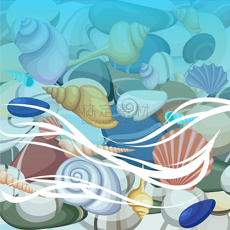 贝壳,绘画插图,夏天,海滩,矢量,背景,度假胜地,石头,海浪,旅行