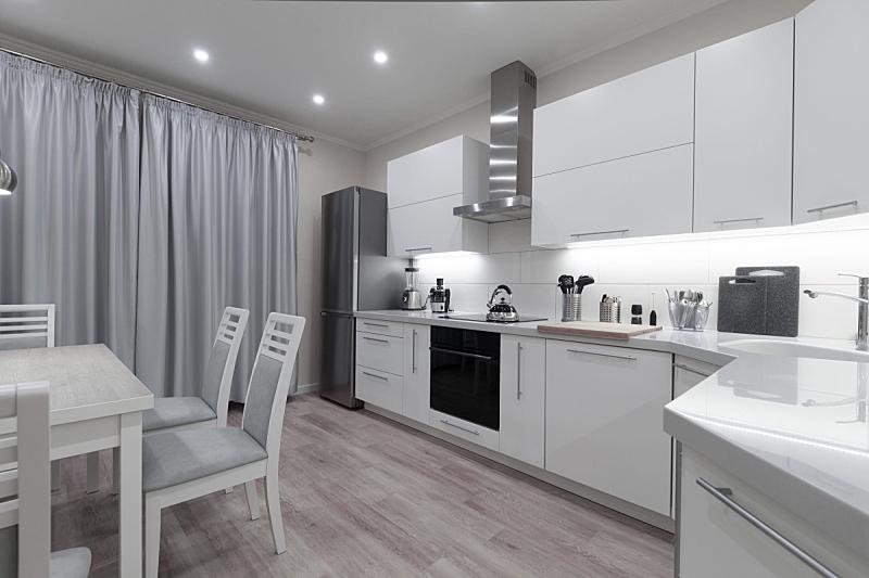 现代,室内,白色,彩色图片,厨房,灰色,米色,纯净,纺织品,华贵
