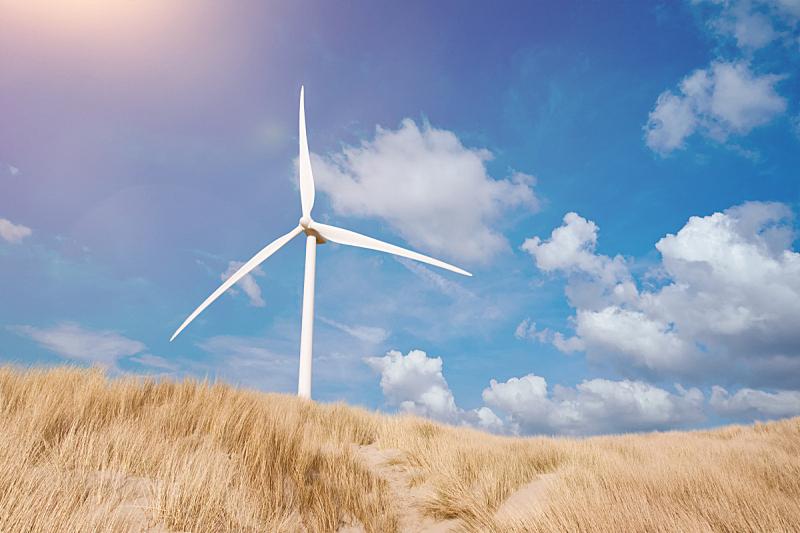 滨草,风轮机,沙丘,天空,夏天,蓝色,在下面,在之后,风车,风力