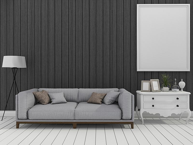 围墙,起居室,沙发,黑色,极简构图,三维图形,轻音乐,墙,假日别墅,暗色