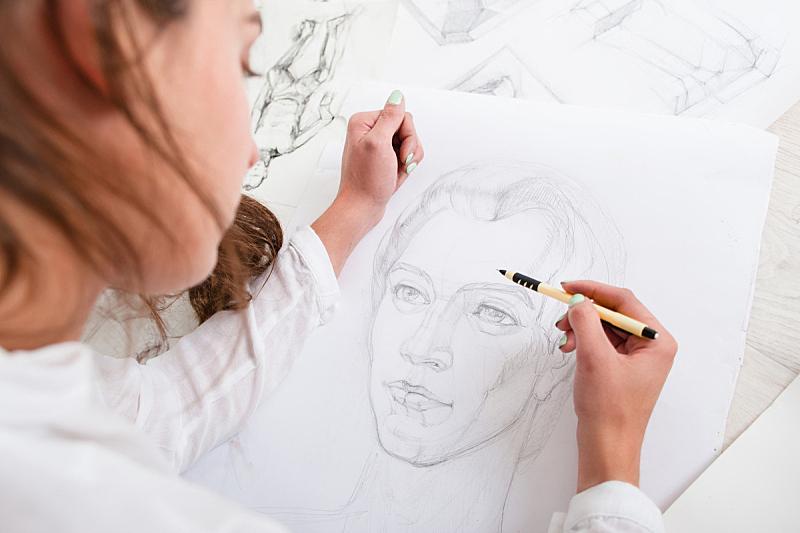 艺术家,肖像,铅笔,特写,美,留白,艺术,水平画幅,艺术品