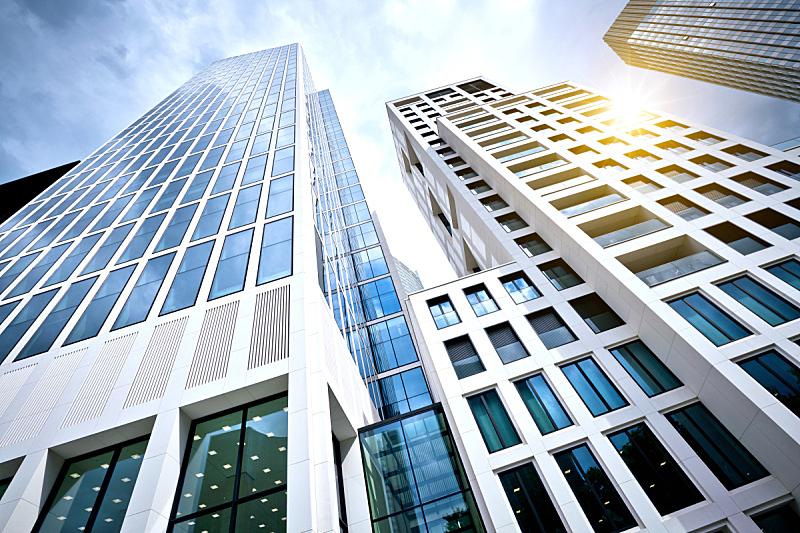 德国,现代,办公大楼,法兰克福,办公楼外观,高个子,摩天大楼,巨大的,包豪斯,公寓