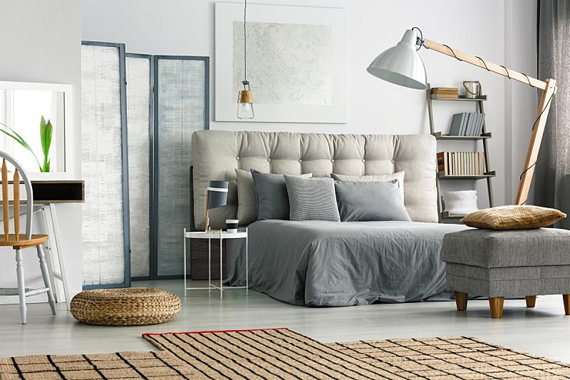 卧室,地毯,柳条,新的,水平画幅,无人,架子,灯,家具,现代