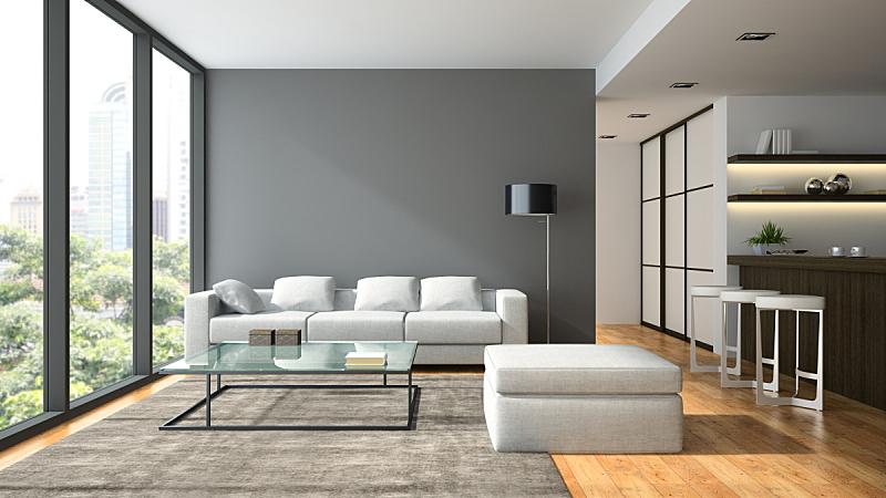 现代,复式楼,室内,三维图形,黑色,扶手椅,舒服,地板,椅子,沙发