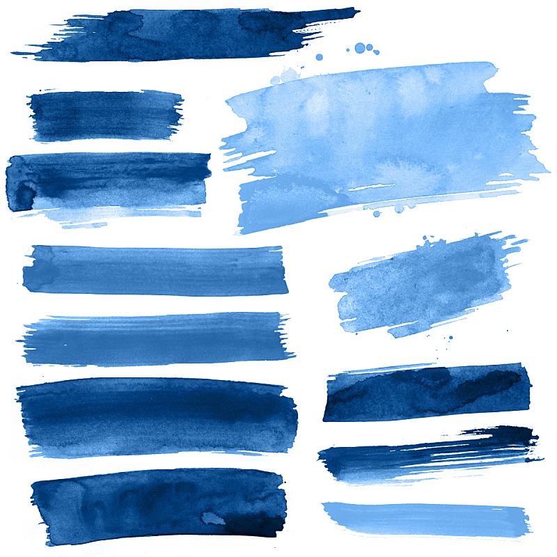 笔触,蓝色,水彩画,水彩颜料,水彩画颜料,设计元素,美术工艺,纹理效果