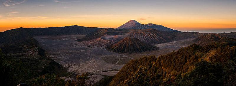 早晨,塞梅鲁火山,山,爪哇,全景,火山,亚洲,东,印度尼西亚,婆罗摩火山