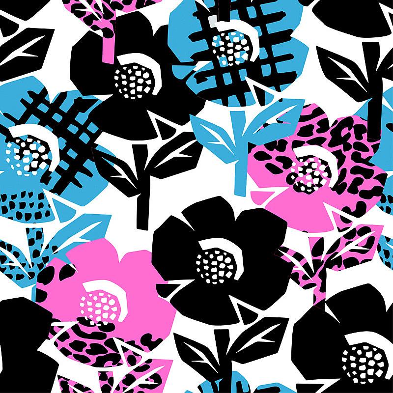 四方连续纹样,热带的花,绘画插图,纹理效果,纺织品,古典式,计算机制图,计算机图形学,卡通,现代