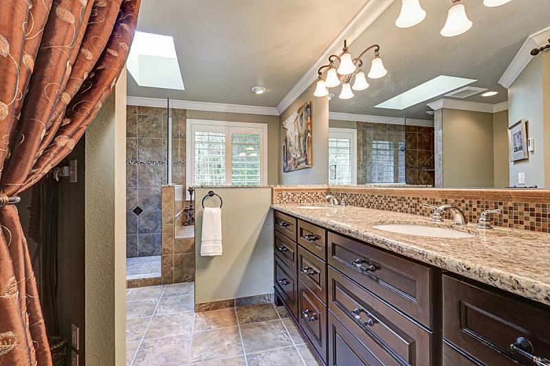 浴室,水槽,虚荣,清新,窗户,太空,褐色,新的,美国,水平画幅