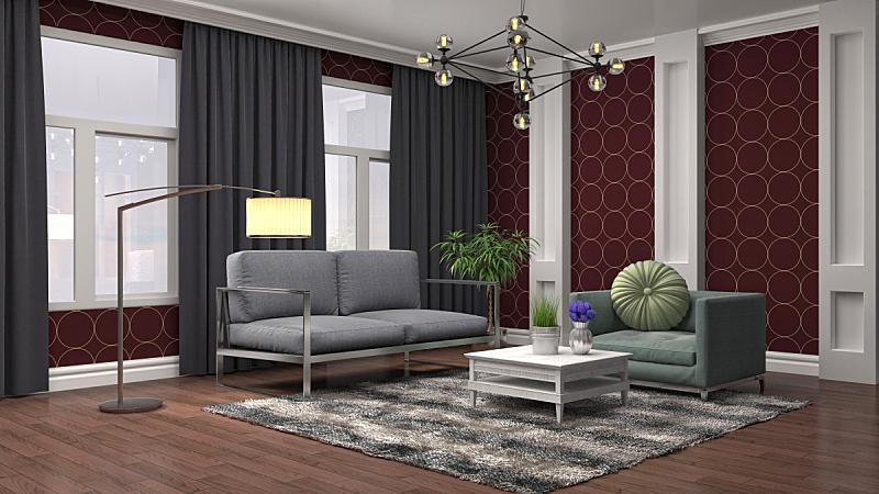 室内,起居室,三维图形,绘画插图,扶手椅,褐色,座位,桌子,水平画幅,无人