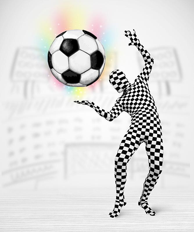 足球,充满的,紧身连衣裤,男人,垂直画幅,球,消息,旅行者,套装,户外