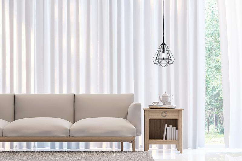 白色,极简构图,时尚,三维图形,卧室,图像,半透明,窗帘,起居室,别墅