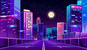 背景,城市,夜晚,霓虹灯,商务,暗色,公路,现代,户外,天空