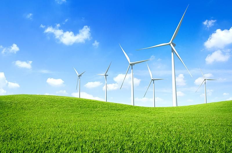 风轮机,田地,绿色,风力,替代能源,天空,多代家庭,风,水平画幅,能源