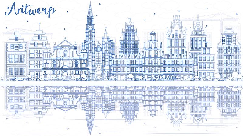 城市天际线,轮廓,建筑外部,蓝色,安特卫普,安特卫普市,比利时,轮廓线画,商务,城市生活