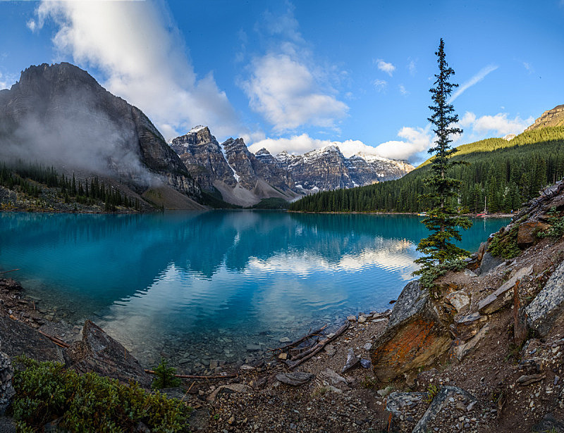 梦莲湖,黎明,十峰谷,广角拍摄,班夫国家公园,班夫,加拿大落基山脉,自然,公园,国家公园