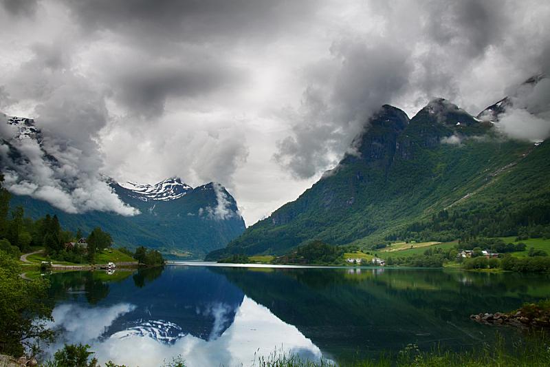 湖,山,挪威,约斯特谷冰原,自然,国家公园,水平画幅,无人,蓝色,欧洲