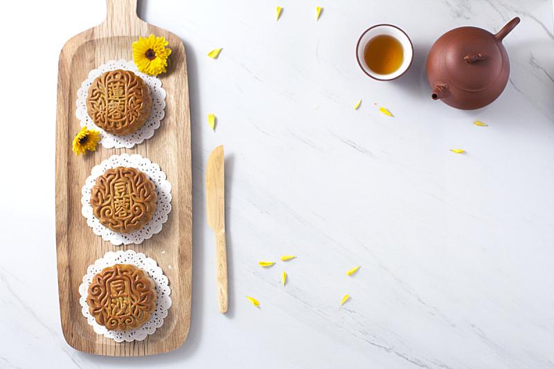饮食,秋天,传统节日,中间,中国茶,中秋节,亮色调,下午茶,留白,水平画幅