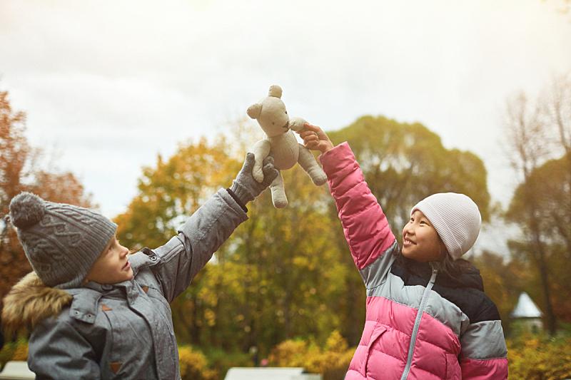 公园,儿童,九月,泰迪熊,十月,小学,玩具,小的,童年,户外