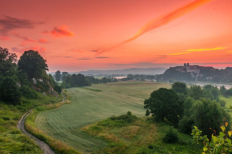 早晨,波兰,地形,多色的,克拉科夫,水平画幅,无人,阴影,户外,云景