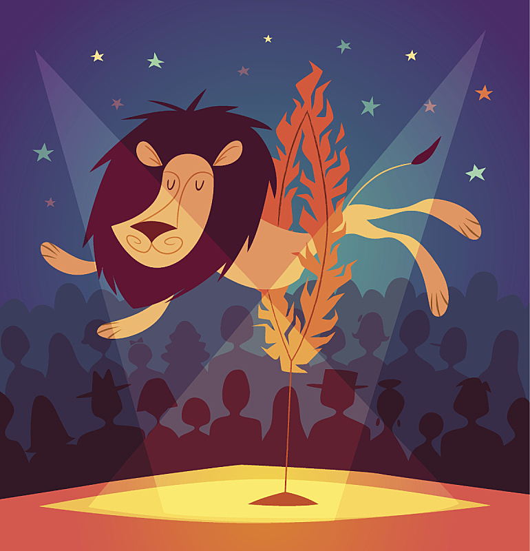 马戏团,狮子,体育场,智慧,绘画插图,巨大的,性格,卡通,动物杂技