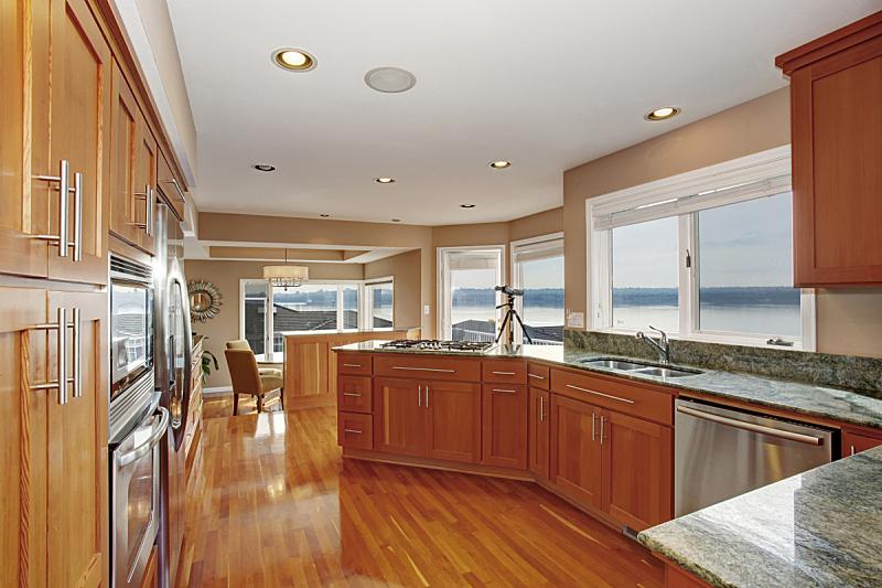 灶台,厨房,宏伟,硬木地板,大理石,公寓,吧椅,不锈钢,闪亮的,高雅