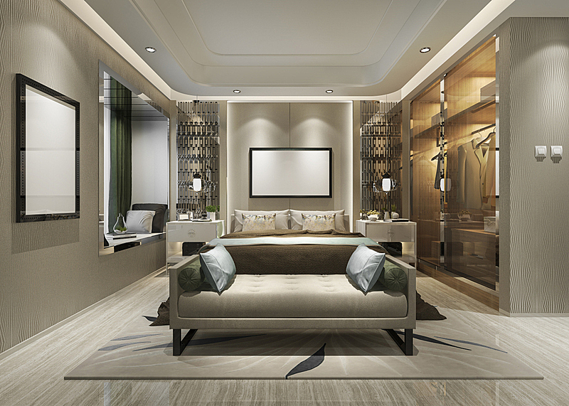 华贵,现代,宾馆套房,三维图形,衣柜,卧室,电视机,扶手椅,舒服,软垫