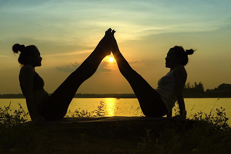 天空,河流,自然,瑜伽,女人,彩色图片,剪影,日落,靠近,复古