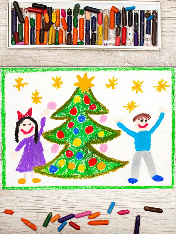 圣诞树,幸福,双亲家庭,色彩鲜艳,垂直画幅,绘画插图,边框,时间,卡通
