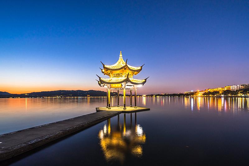 集贤亭,杭州,水,天空,美,水平画幅,云,无人,传统,户外