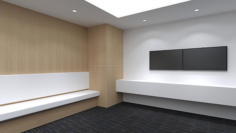 绘画插图,空的,三维图形,极简构图,室内设计师,轻蔑的,住宅房间,正下方视角,办公室,留白