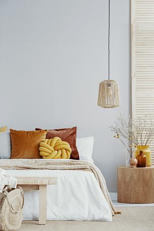 橙色,时尚,自然,黄色,卧室,舒服,软垫,床单,树荫,床