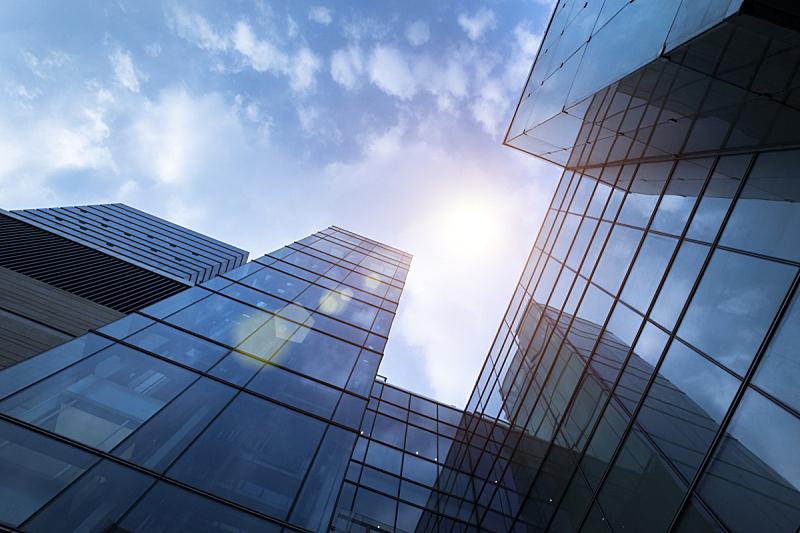 办公楼外观,日光,低视角,低的,光辉道路,角度,办公室,天空,外立面,水平画幅