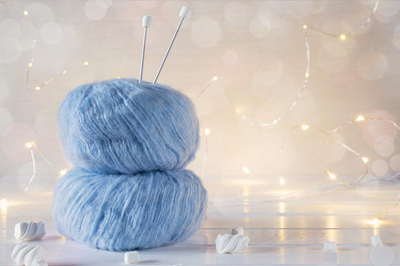 球,两个物体,毛绒绒,蓝色,羊毛,针织,背景,留白,钩针编织品