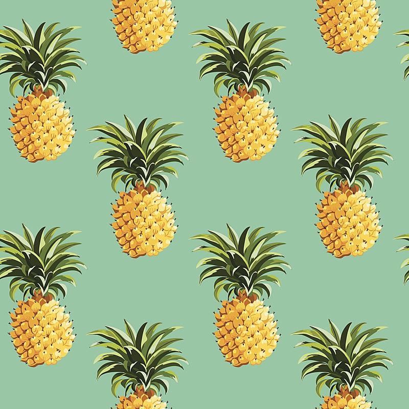菠萝,背景,四方连续纹样,热带气候,水果,夏天,复古风格,绘画插图,古典式,生日