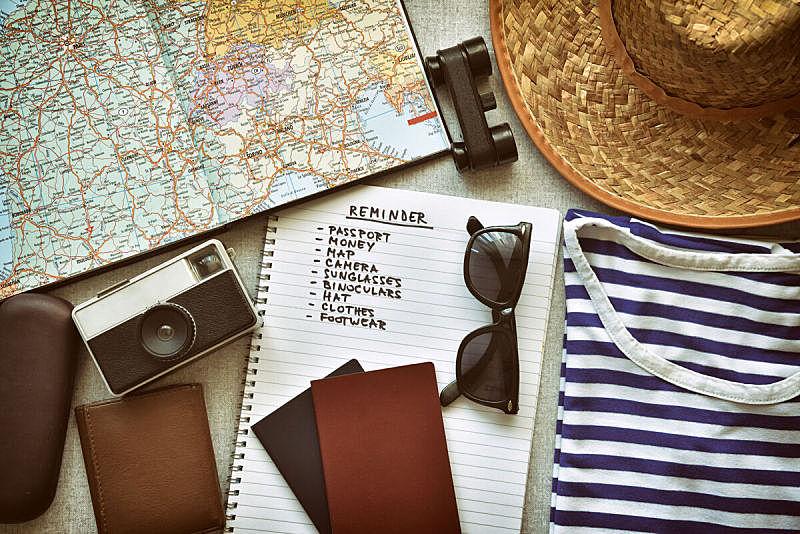 个人随身用品,旅游目的地,清单,美国海军陆战队,组物体,旅途,做计划,格记录纸,笔记本,相机