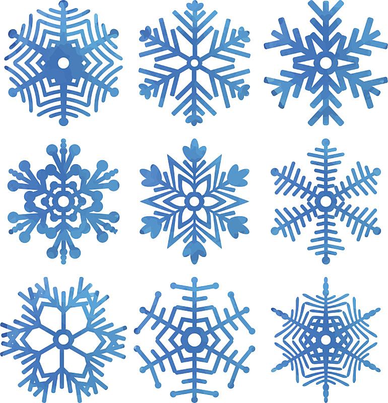 雪花,矢量,水彩画,雪花球,形状,雪,绘画插图,符号,几何形状