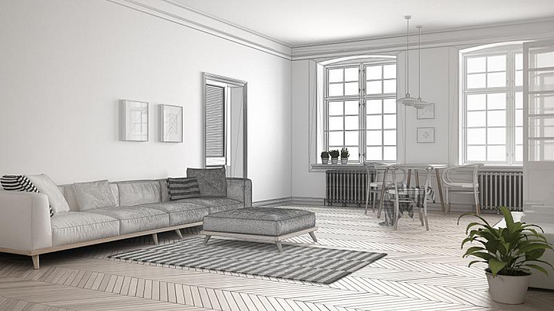 不完全的,极简构图,做计划,抽象,草图,起居室,室内设计师,绘画插图,地毯