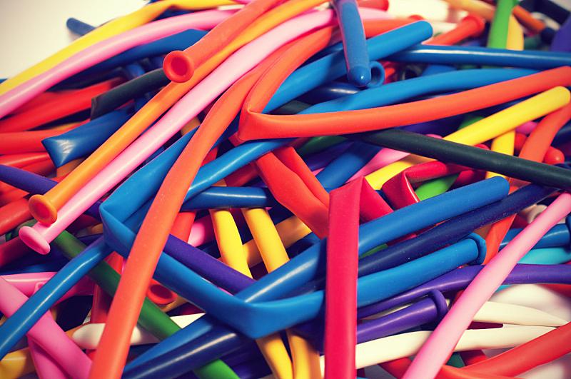 放气的,大量物体,气球,空的,一个物体,背景分离,塑胶,长的,玩具,橙色