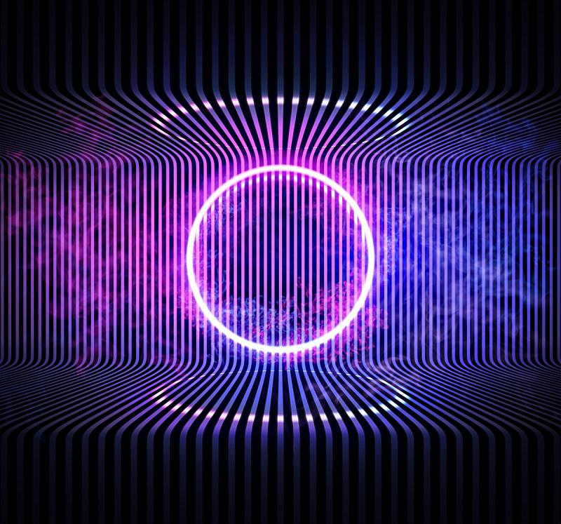 霓虹灯,矢量,烟,背景,阳光光束,蓝色,圆形,金属,反射,遗忘