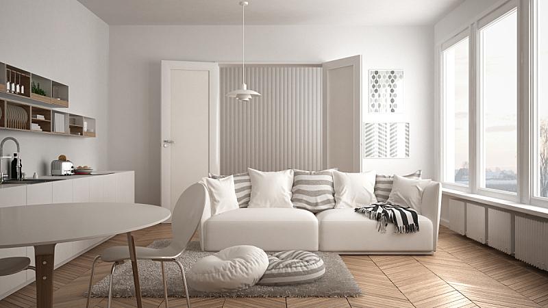 沙发,白色,建筑,极简构图,北欧,起居室,厨房,枕头,小毯子,室内设计师